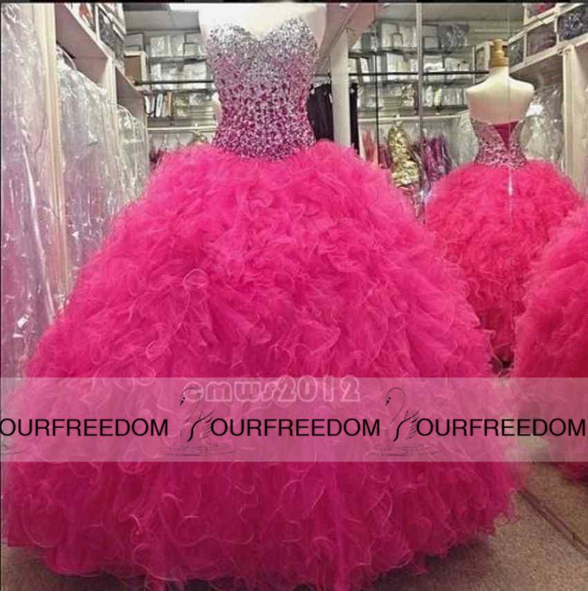 2019 Mais Recente Real Imagem Querida Quinceanera Vestidos Bling Bling Cristal Frisado Longo Vestido de Baile Formal Vestidos de Festa de Formatura Feitos Sob Encomenda