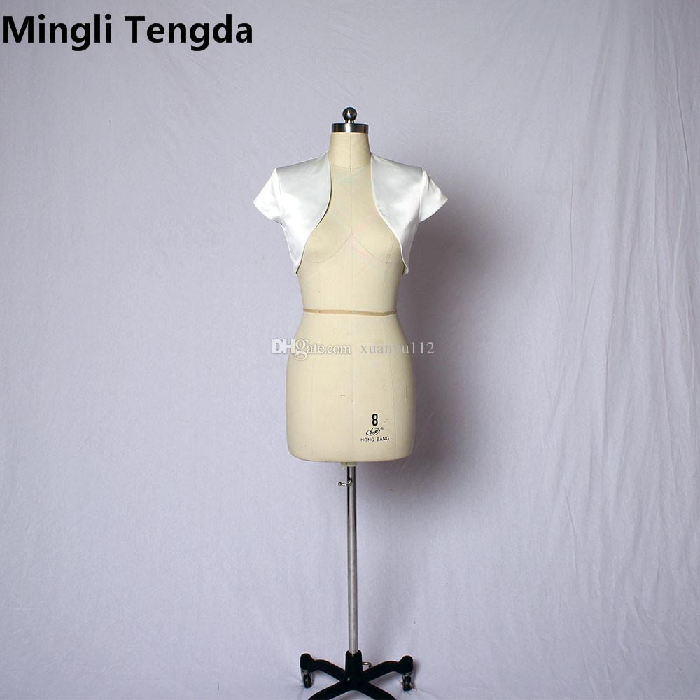 Mingli Tengda elegante mangas cortas Boda nupcial Bolero Satén nupcial abrigos Chaqueta de la boda Mujeres Shrug Coat abrigo de la chaqueta 2018 Fashion Bolero