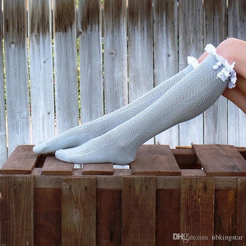 Ницца кружева Trim Knee высокие ботинки носки женщин хлопок knit ноги теплые / Бесплатная доставка