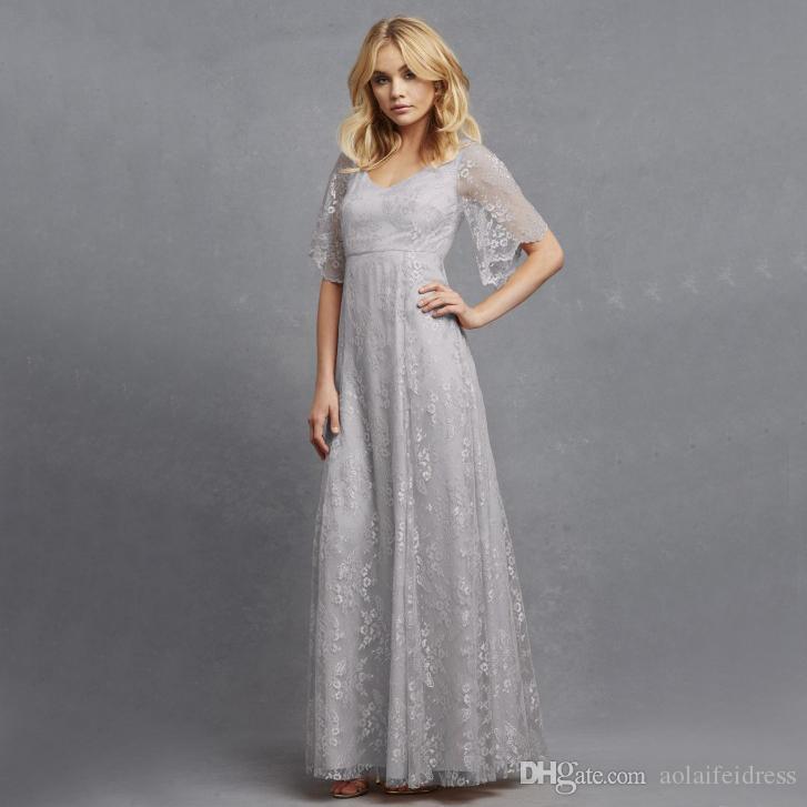 Elegant Lace Sleeve Short Wedding Dresses 2016 Scoop Neck: 2016 Silver Bridesmaid Dresses Long Floor 100% Lace Scoop