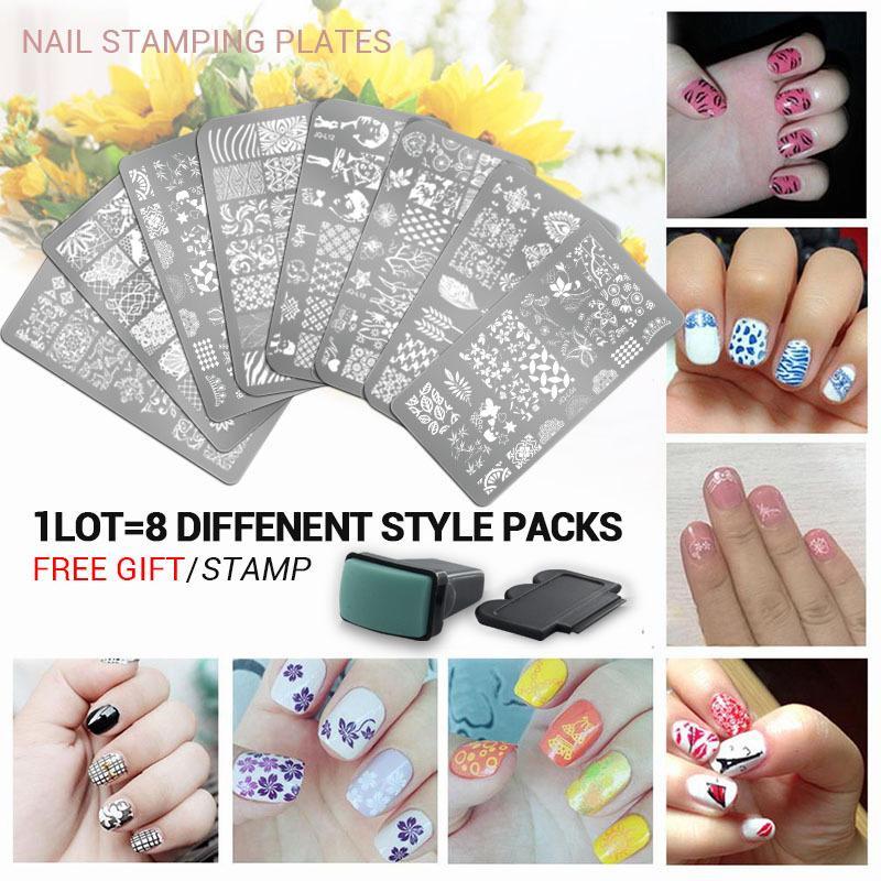 10 Stucke Nagel Set 3 Druck Bildplatte Stamper Scraper Nail Art Schablonen Stamping Schablone DIY Manikure Werkzeuge