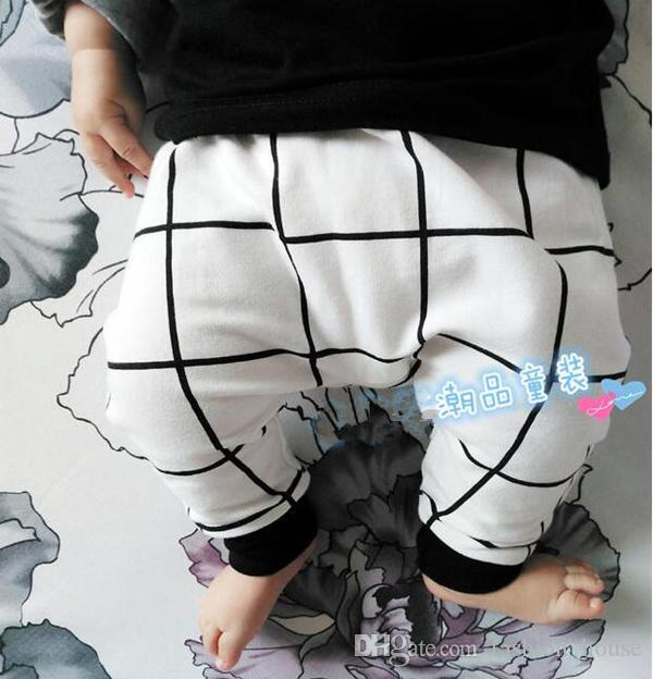 Baby Kinder Kleidung Casual Harem Hosen Kleinkinder Jungen Mädchen Leggings Hose Kleidung Dinge todler Capris Marke gestreift Schwarz Weiß Gitter BY000