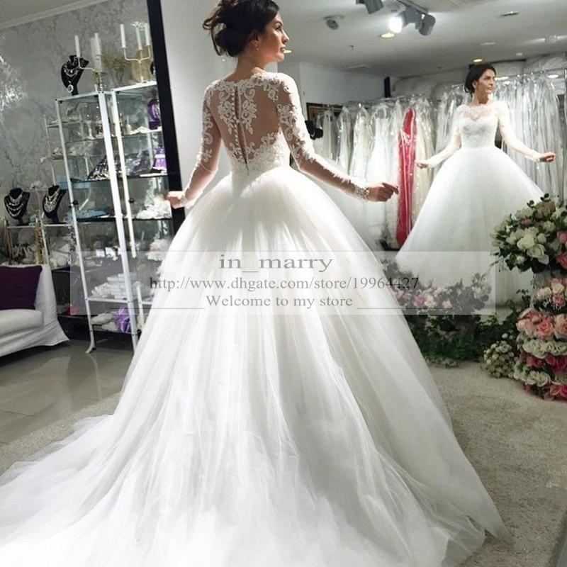 Victorian Long Sleeves Vintage Lace Wedding Dresses Ball Gown Princess Style 2015 Empire Arabic Muslim Islamic Wedding Gowns White Ivory