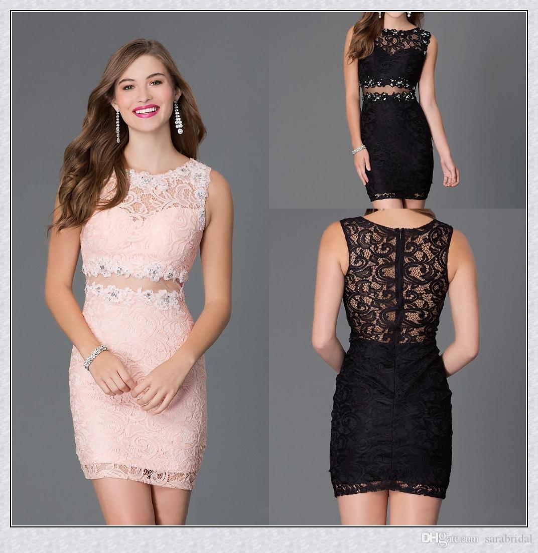 a098ad61a8 Short Tight Homecoming Dresses 2015 Sexy Sheath Black Lace Jewel .