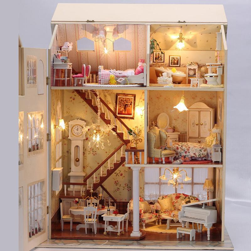 Compre Al Por Mayor Muebles Diy Casa De Muñecas Wodden Miniatura ...