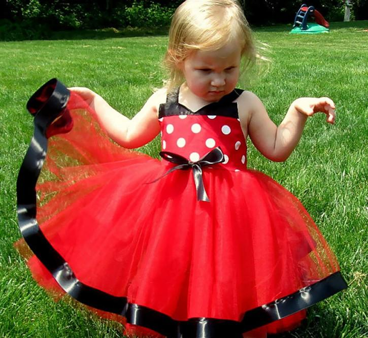2017 Girls Dress Mickey Minnie Mouse Dots Lace Up Dresses