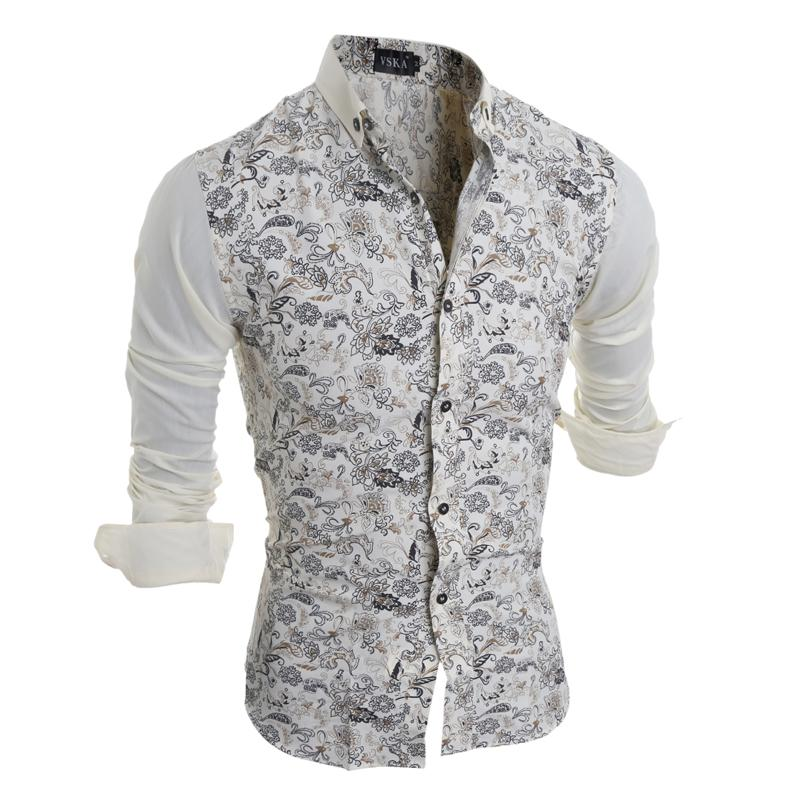 2019 Men Casual Shirt Mens Fashion Flower Printing Long