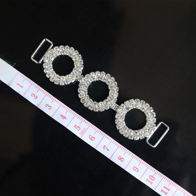3Rounds Crystal Rhinestone Bikini Connectors Buckle Metal Chain Buttons For Swimming Wear Bikini Decoration