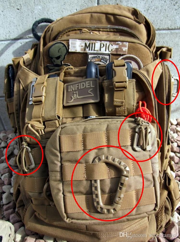D الشكل 200lb تسلق الجبال إبزيم المفاجئة كليب البلاستيك الصلب تسلق edc حقيبة مشبك هوك حلقة تسلق d- حلقة قفل التكتيكي رخوة quickdraw