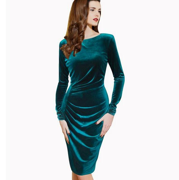 2017 Nice Womens Winter Elegant Long Sleeve Velvet Ruched Wear To