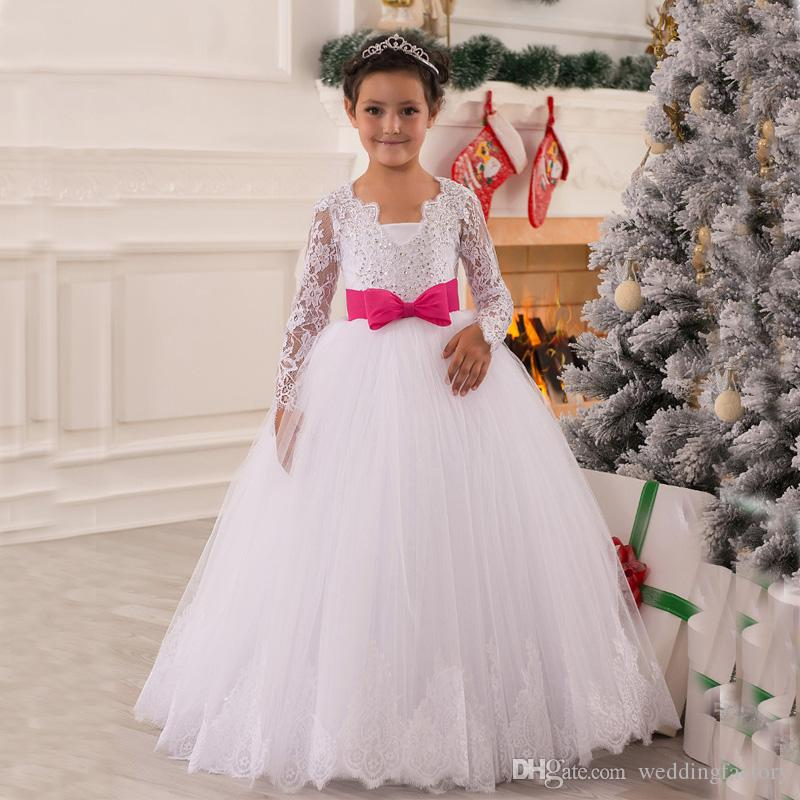 99c3bd71992 Princess Illusion Long Sleeves Flower Girl Dress Puffy Lace Appliques White  Kids Wedding Party Dresses Pageant Gowns With Fuchsia Bow Flower Girl  Dresses ...
