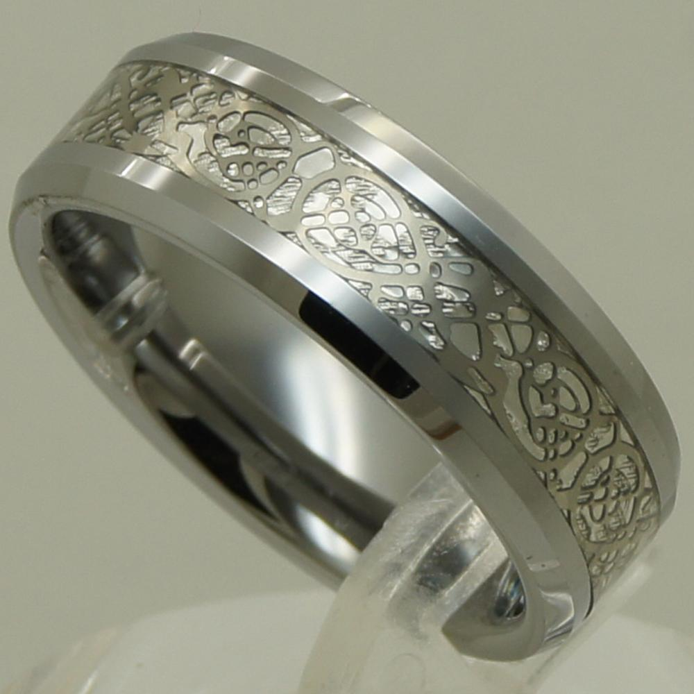 silver celtic dragon inlayed hi tech scratch proof tungsten carbide ring 358