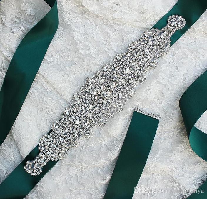 2019 الأزياء الفاخرة حجر الراين الزينة حزام فستان الزفاف الملحقات حزام 100٪ مصنوعة يدويا الأكثر مبيعا xw61 الزنانير الزفاف