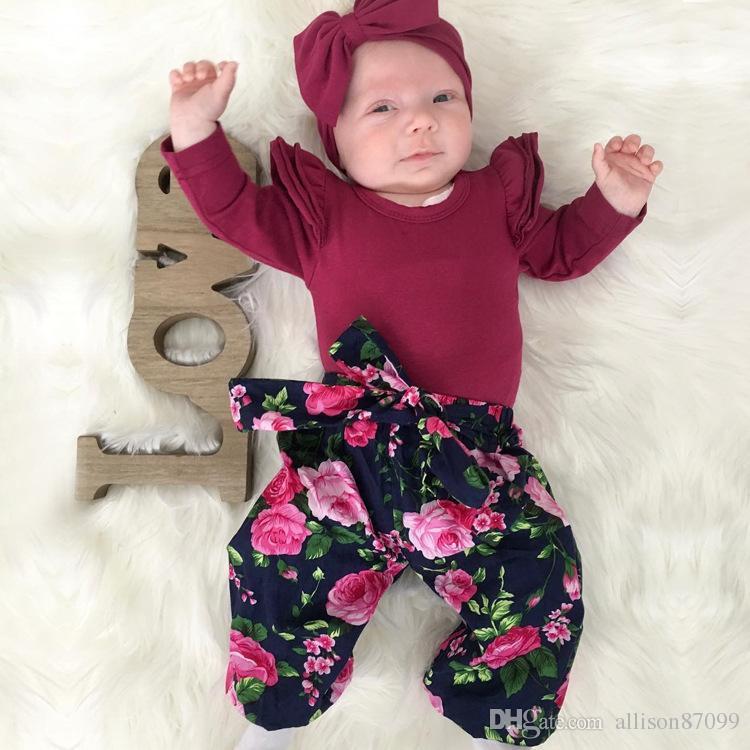 Ins Bebek kız giyim Onesies Romper Flutter kol Sevimli katı Uzun kollu Romper Tüm Eşleşmiş 2019