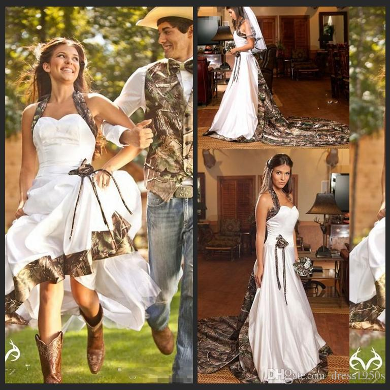 Discount Vintage Country Realtree Camo White Wedding Dresses 2018