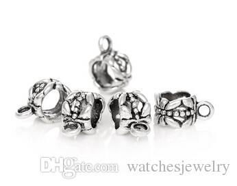 Großhandels-Antik Silber Bail Perlen Spacer Perlen 11x8mm Fit europäischen Armband 6mm, B000048seasons
