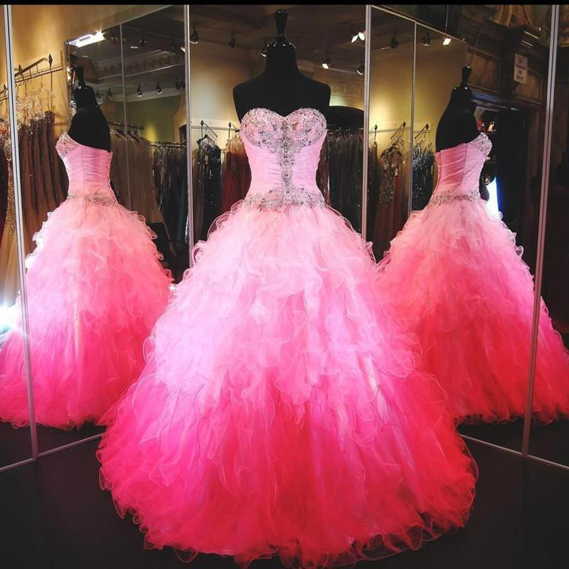 2016 Cheap Quinceanera Abiti Sweetheart Bling Branelli di Cristallo Increspature A File Graduale Colore Ball Gown Lungo Hot Pink Lungo Pageant Prom Gowns