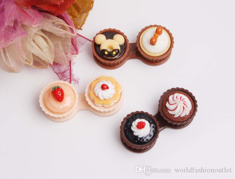 Contact Lens Accessories Contact Lens Storage Set new cute Cream Cupcake styles contact lenses lens Companion box Cake Lenses case Free DHL