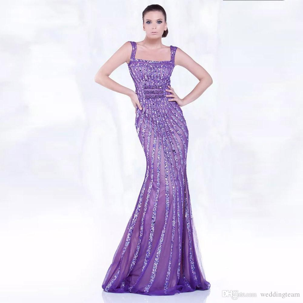 Purple Square Neck Evening Dresses Sequin Beads Spaghetti Strap Mermaid Evening Gowns Dubai Trumpet Prom Party Gowns