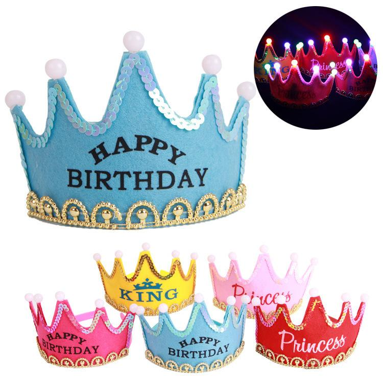 Birthday Luminous Hat Party Hats Hair Accessory Prince Princess For Decorations Adult Child Crown Costume Jewelry PA02