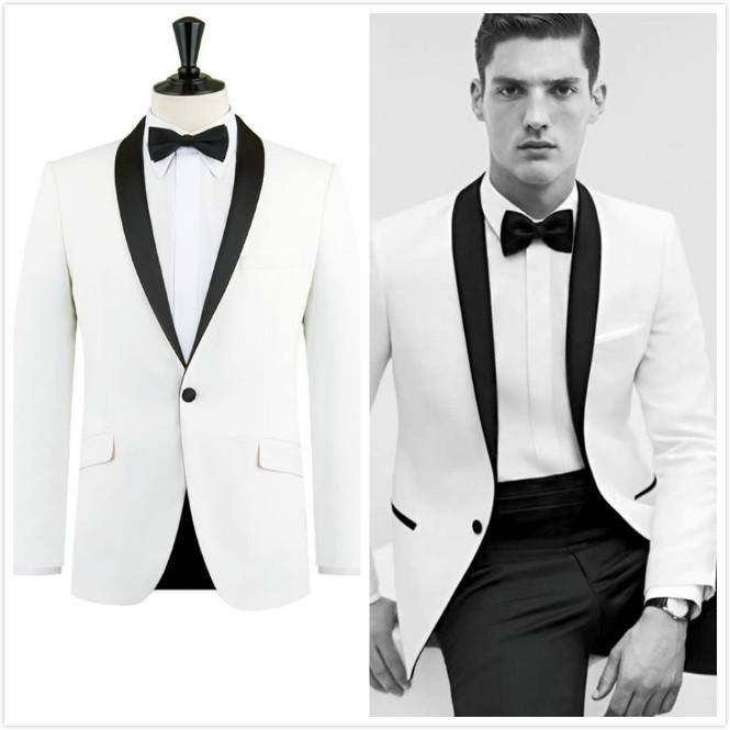 2017 White Tuxedo Jacket Black Lapel Slim Fit Men Suit Custom Made ...