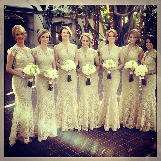 2015 mermaid lace bridesmaid dresses long v neck capped sleeves sheer lace prom gowns beach wedding formal evening gowns