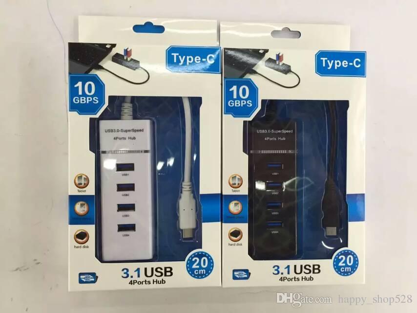 Hub 3.0 superspeed 4 porte a 4 porte con LED e cavo dati USB Windows 8 Tablet PC con confezione gratuita Epacket gratuito