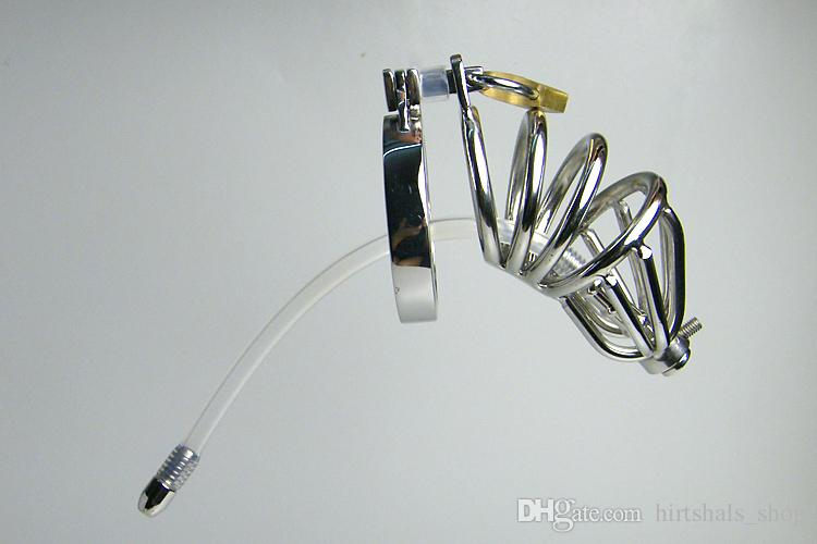 2015 Latest Design Super Small Male stainless steel Cock Cage with catheter Chastity Art Device Cock ring BDSM Sex toy