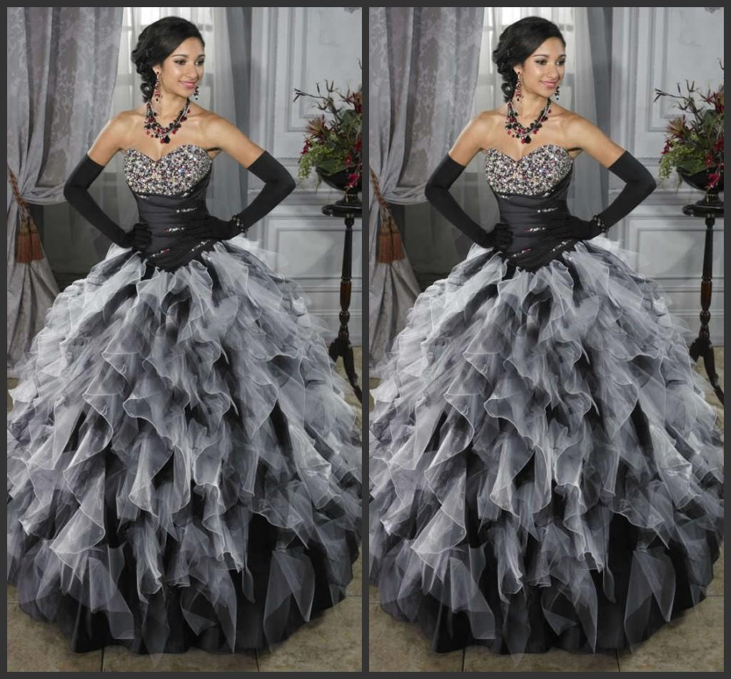 Black And White Ball Gown Prom Dresses Gothic Sweetheart Neckline ...
