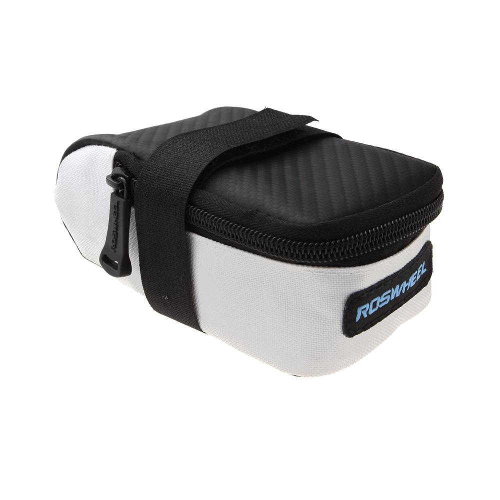 ROSWHEEL Fixed Gear Fixie Road Bike Bicycle MTB Saddle Back Seat Seatpost Cycling Tail Pouch Package Bag White/Black