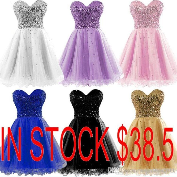 Cheap 2019 In Stock Gold Sexy Sweetheart Tulle A-Line Sequins Mini Short Homecoming Dresses Graduation Gown 08-030