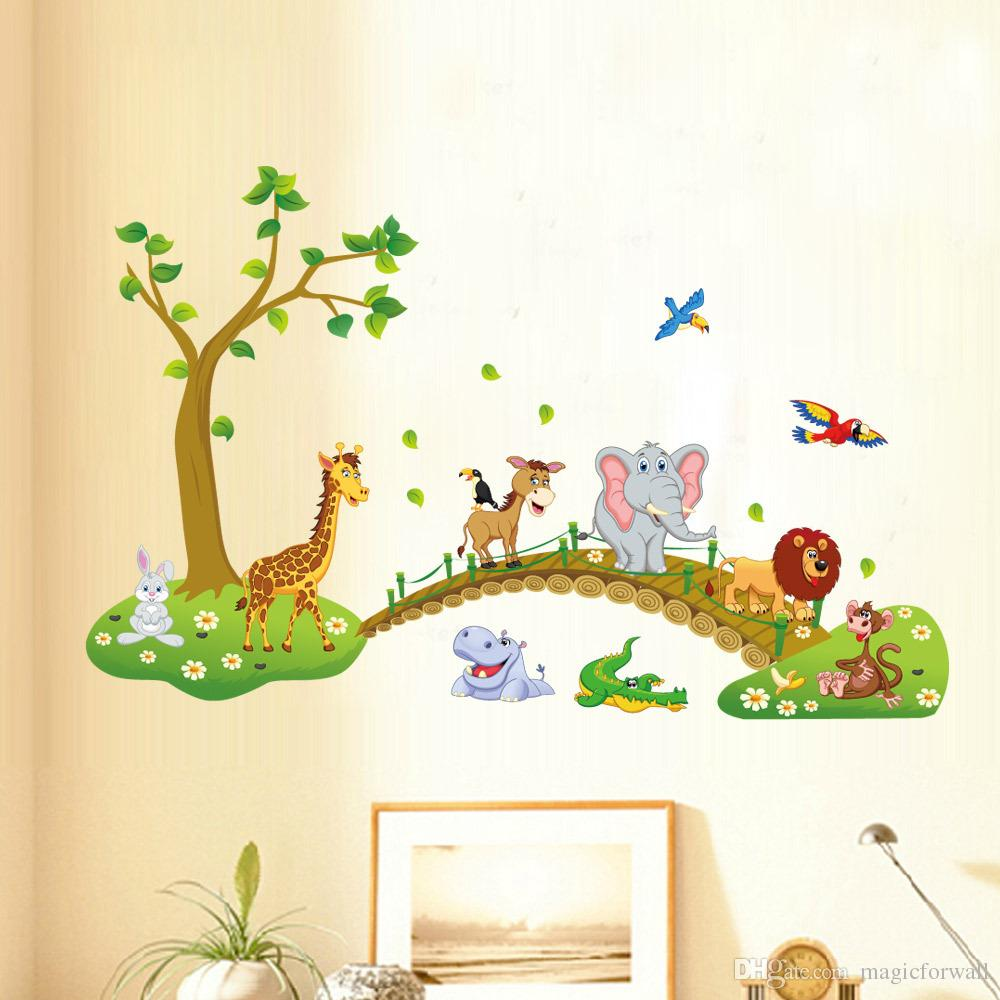 Kids room wall decor stickers - Kids Babies Boys Girls Room Wall Decor Poster Cartoon Animals Lined Up To Walk Across The Bridge Wall Decals Forest Animals Home Wall Stickers Horse Wall