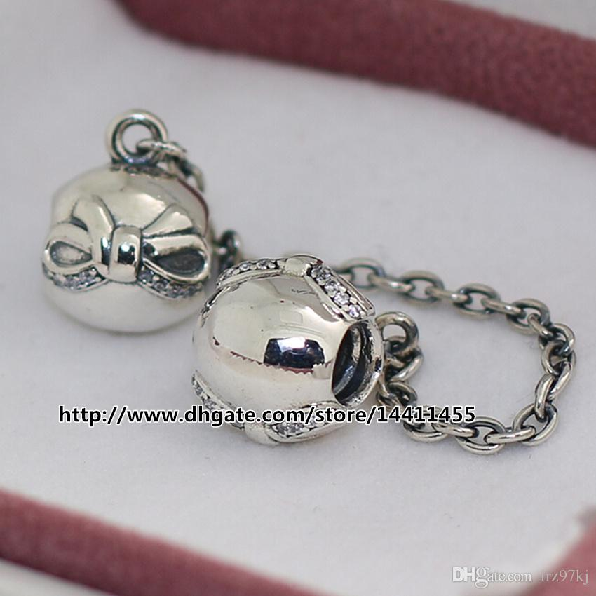 2015 Winter 925 Sterling Silver Dainty Bow Safety Chain Charm Bead with Clear Cz Fits European Jewelry Bracelets & Necklace