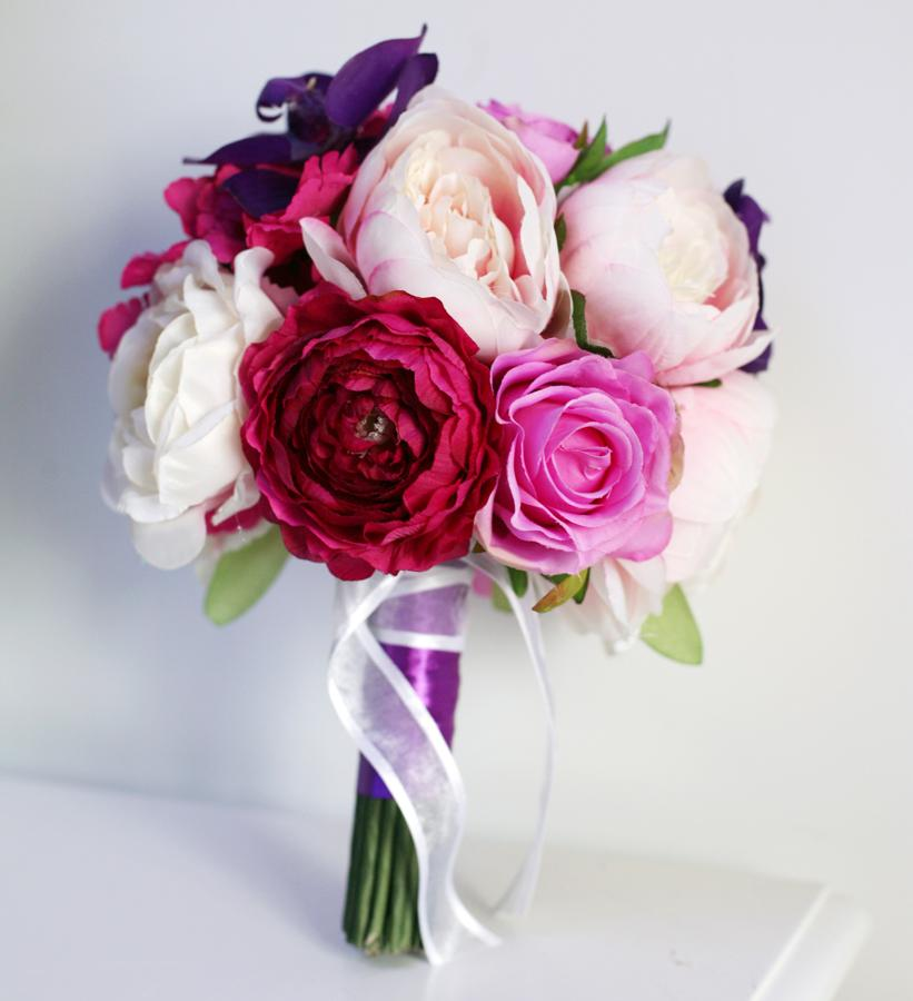 Handmade Artificial Wedding Bouquets Purple Hydrangea Fushina Peony ...