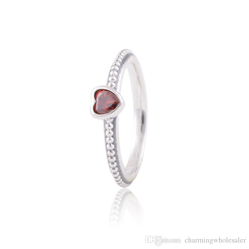 2d0a78f00 Pandora Style Zircon Rings Delicate Red Heart 925 Hot Sale For Women Girl  Best Quality Red Color RIP110BH9 Mens Wedding Bands Diamond Rings From ...