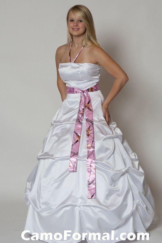 Blanco satinado Rosa Camo Vestidos de novia 2016 Halter A Line Más tamaño Vestidos de Novia Ruffles Corset Elegantes vestidos de novia 2016
