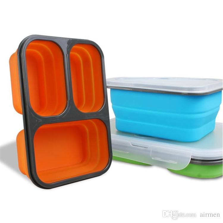dhl Silicone Collapsible Portable Lunch Boxes Bowl Bento Boxes Folding Food Storage Container Lunchbox Eco-Friendly