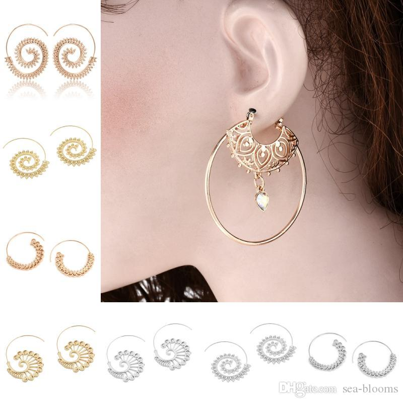 c7d90487f 2019 2018 Steampunk Round Swirl Hoop Earring For Women Gold Silver Tone Big Circle  Earrings Party Accessories Ethnic Jewelry Christmas Gift D158S From Sea ...