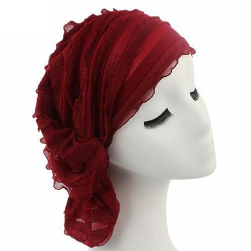 Nouvelle mode femmes Ruffle Chemo Chapeau Bonnet Écharpe Turban Chapeaux pour Cancer