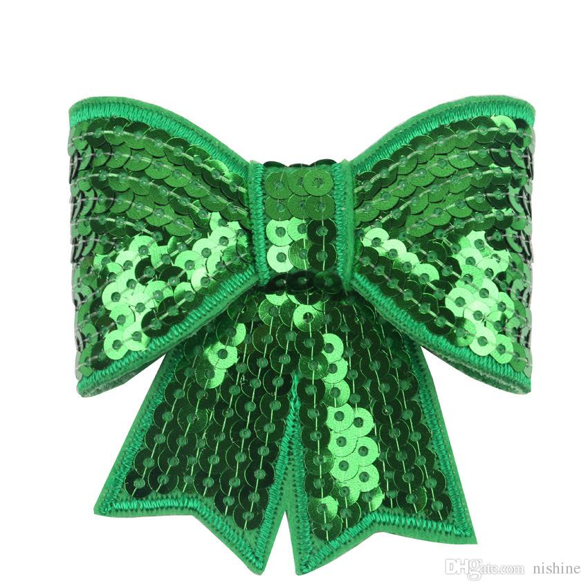 Nishine Large Embroideried Sequin Bows For Kids Headband Hair Clip DIY Hair Bow Hair AccessoriesColor: