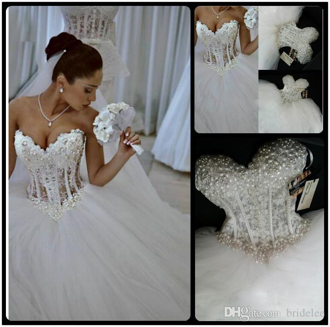 2020 роскошные Bling Aweetheart Свадебные платья Корсет Борис Ошибка Bridal Ball Pearl Beedstulle Свадебные платья Vestido de Noiva