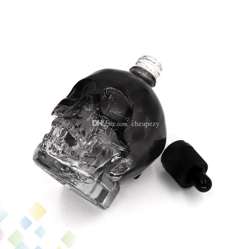 120ML 두개골 유리 Dropper 병 3 색 빈 E 액체 병 Childproof 모자와 함께 고품질 맞는 Eliquid DHL 무료