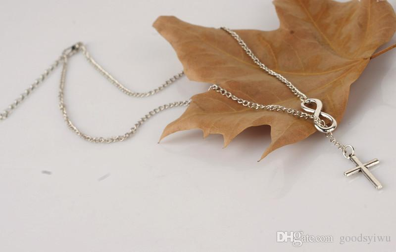 NEUE Mode Unendlichkeit Kreuz Anhänger Halsketten Hochzeitsfest 925 Silber Überzogene Kette Elegante Schmuck Für Frauen Damen freies verschiffen
