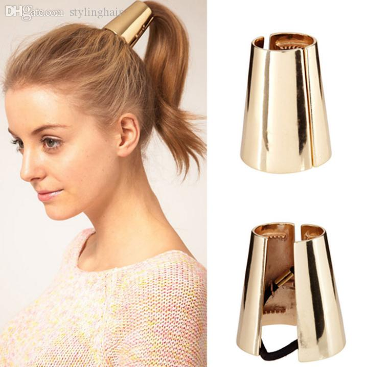 Wholesale-Essential Retail New 2015 Jewelry Metal Big Gold/Silver Plated Elastic Ponytail Holder Hair ring/Headbands/ Hair Accessories