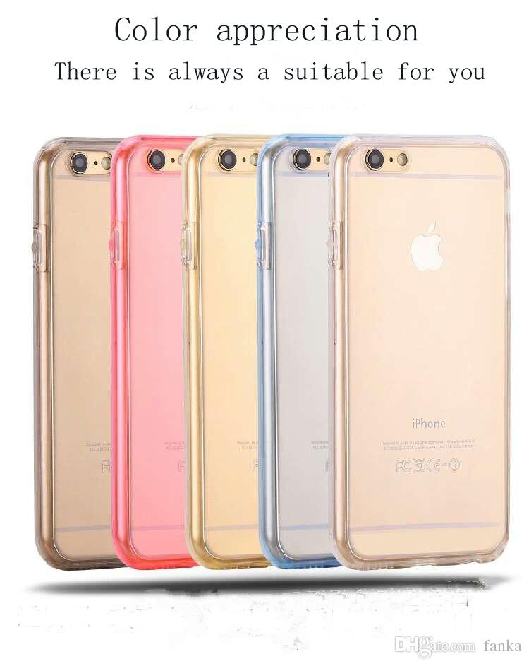 For iPhone 6 6s 6plus Samsung S7 S7edge S6 S6 edge A310 A510 A710 360TPU Soft Ultra-thin Transparent Silicon 2 in 1 Front And Back Cover
