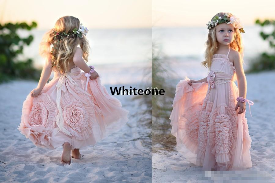 Pink Ball Gown Flower Girl Dresses Spaghetti Ruffles Handmade ...