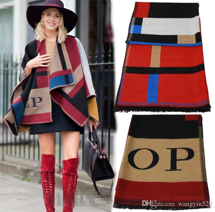 Women Blanket Scarf Plaid Womens Scarf Op Cashmere Wool Scarf