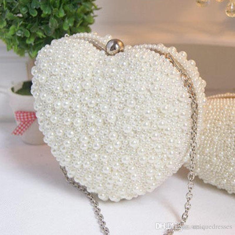Women Heart Shape Pearl Beaded Evening Bag Bridal Purse Wedding Shoulder Bag Cell Phone Pouch