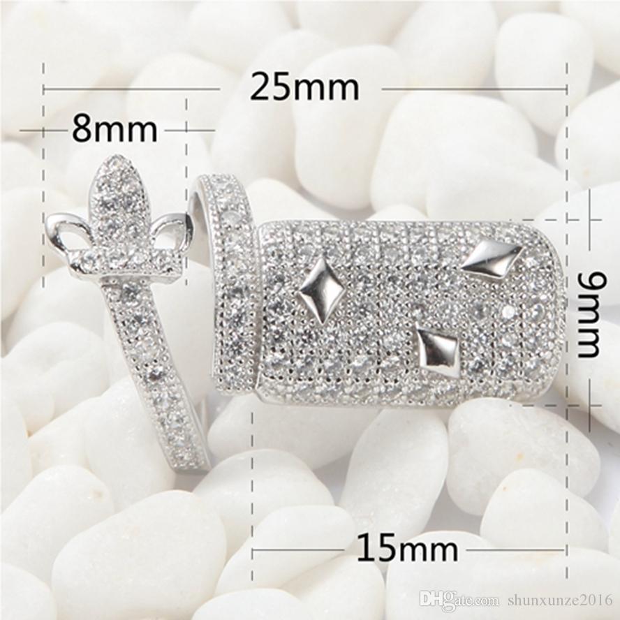 925 Sterling Silber Explosion Modelle Nagelring S-3755 3756 Weiß Zirkonia Großhandel Bestseller Empfehlen Zeitlich begrenzte Rabatt Punk