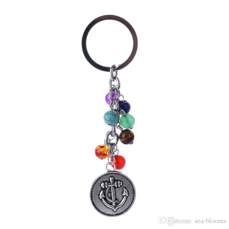 Fashion Energy Gemstone Beaded Owl Tree of Life Ciondolo Yoga Gemstone Keychain Jewelry Best Friend Regalo 7Chakras Portachiavi D246S
